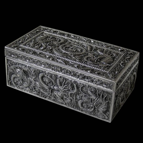 A Chinese Export Silver Rectangular Box