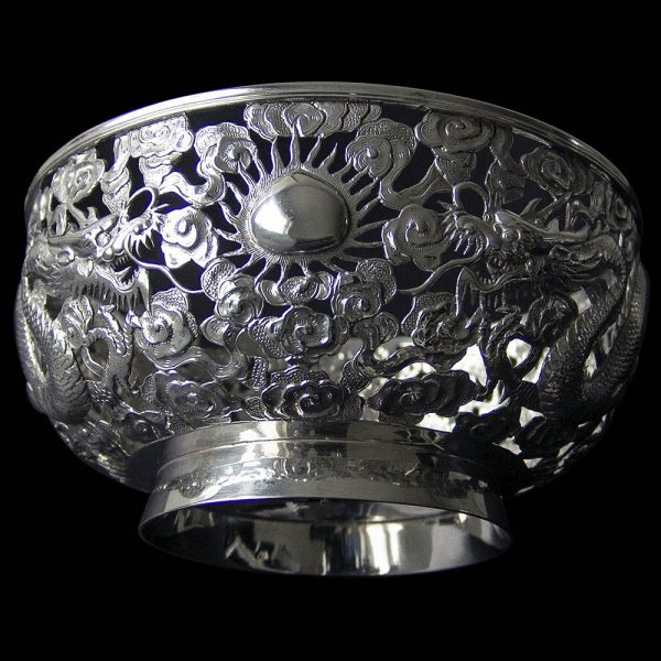 Chinese Export Silver Pierced Dragon Bowl