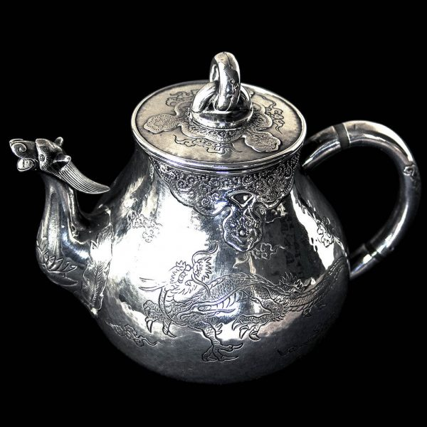 Antique 'Minature Saffron' Chinese Export Silver Teapot