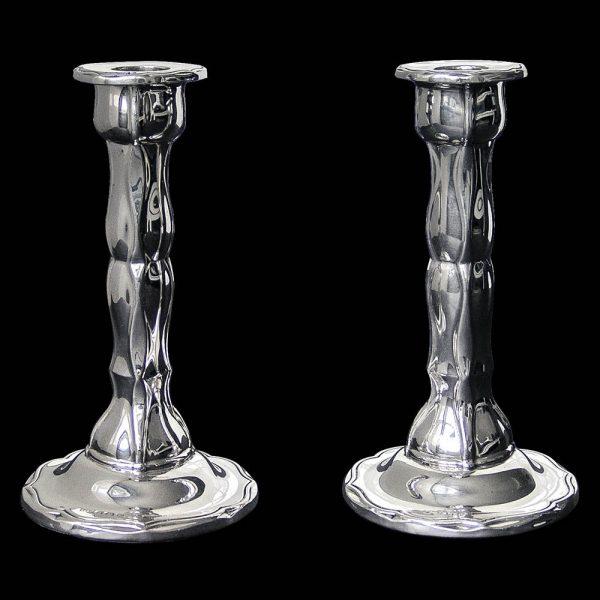 Pair of Art Nouveau Sterling Silver Candlesticks