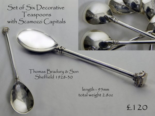 Set of Six Antique Silver Teaspoons