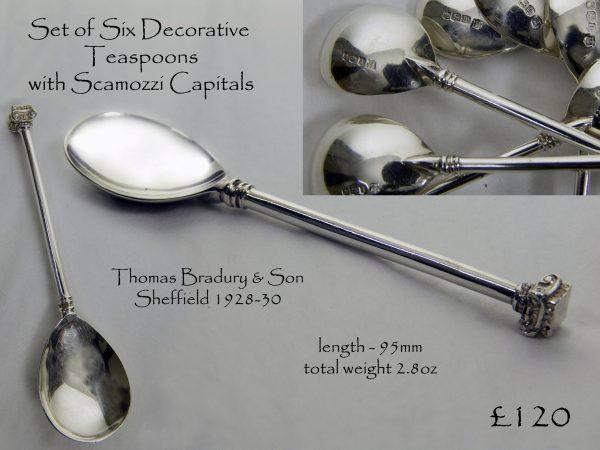 Set of Six Antique Silver Teaspoons