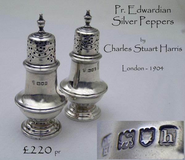 Antique Silver Peppers