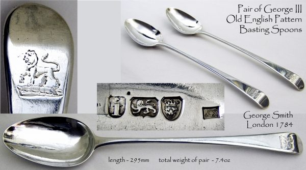 Antique Silver Basting Spoons