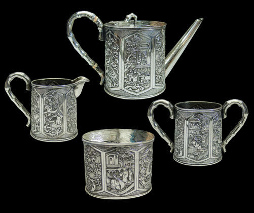 A very good Antique Chinese Export Silver tea set