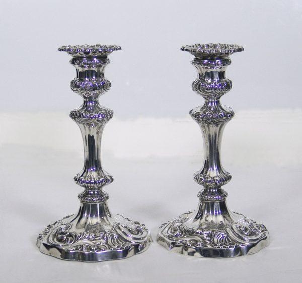 Pr Antique Silver Candlesticks