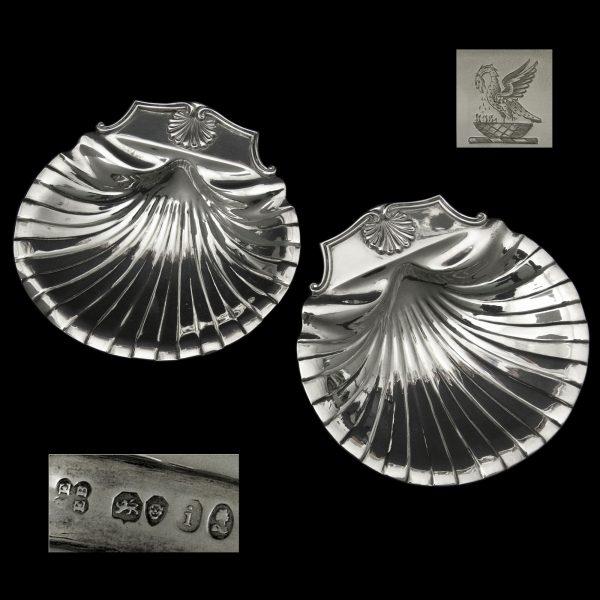 Pair Silver Butter Shells