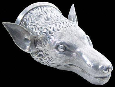 Antique English silver fox head stirrup cup
