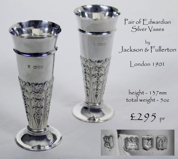 Pair Antique English Silver Vases
