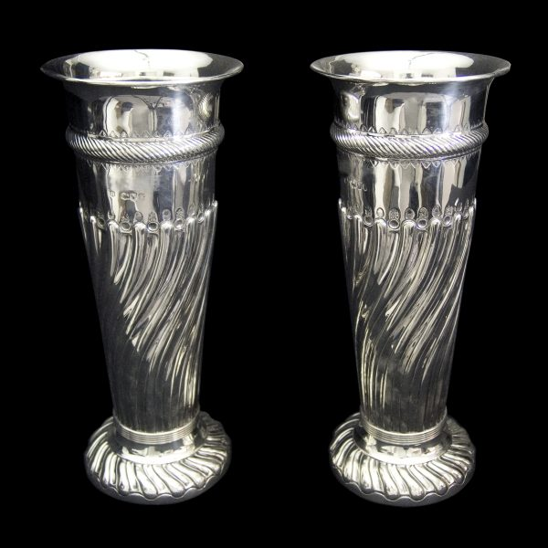 Pair of Fine English Antique Silver Vases
