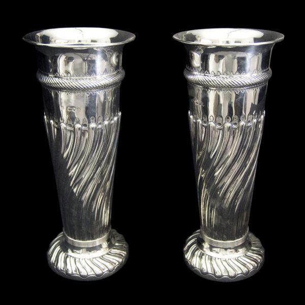 Pair of Fine English Antique Silver Vases