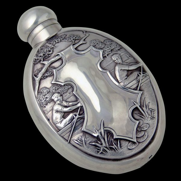 Antique silver rare Whiskey Flask rowing interest