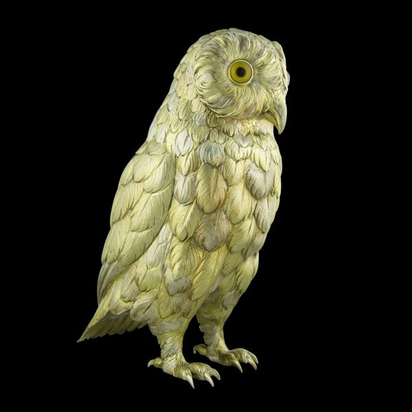 Owl silver life-sized