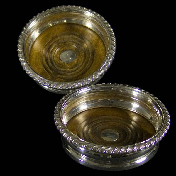 English Antique Silver Wine Coasters