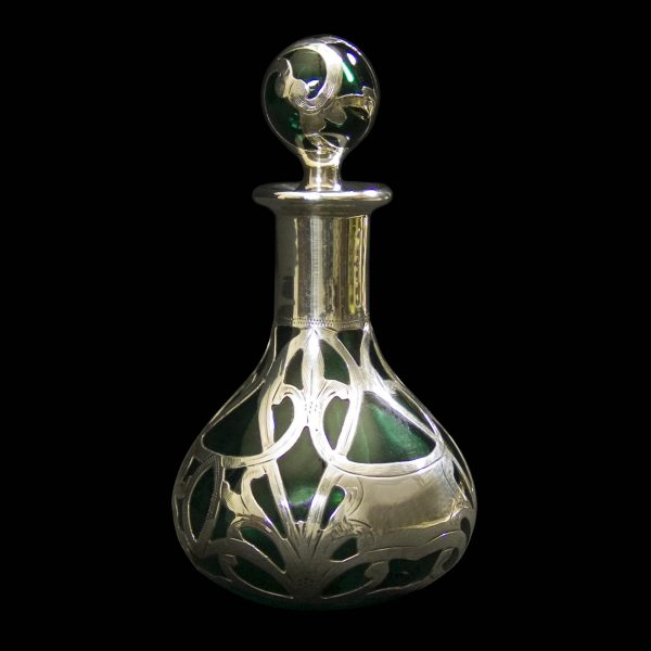 Antique Silver Overlay Green Glass Scent Bottle