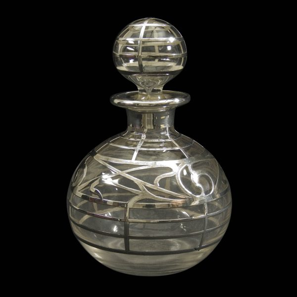 Antique Silver Overlay Clear Glass Scent Bottle