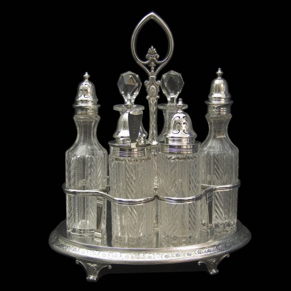 Antique English Silver Six Bottle Cruet Stand
