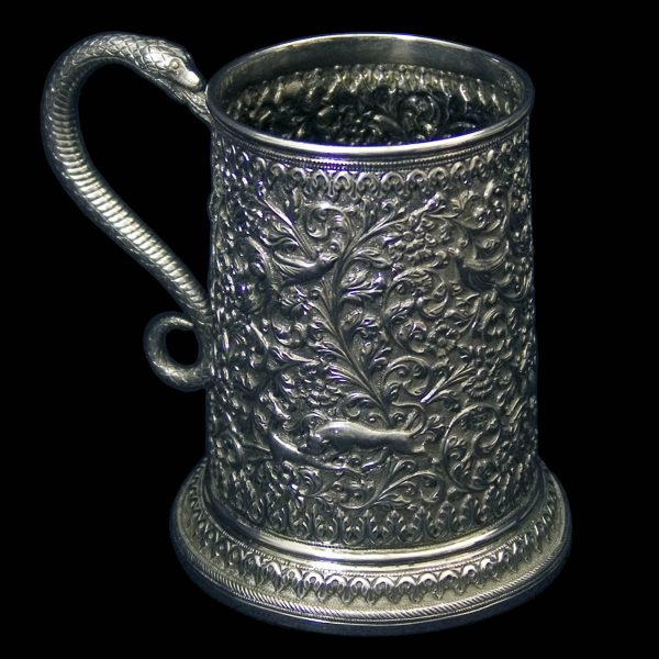Antique Indian Silver Tankard by Oomersee Mawjee of Kutch