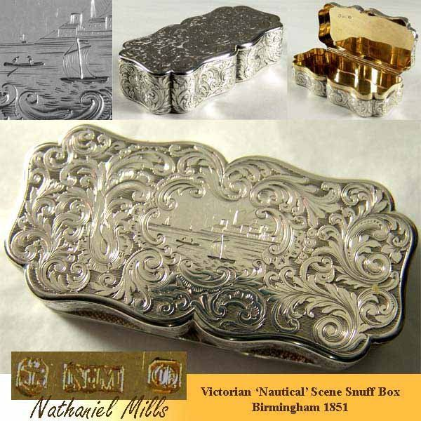 Victorian antique silver table snuff box engraved with 'Nautical' scene