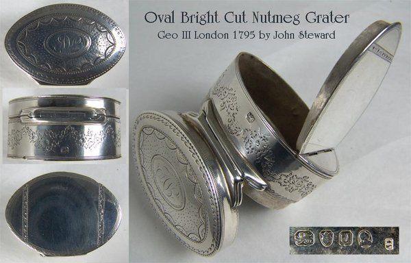 Geo III oval,silver, brightcut nutmeg grater
