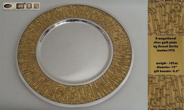 A magnificent modern silver gilt platter by Stuart Develin