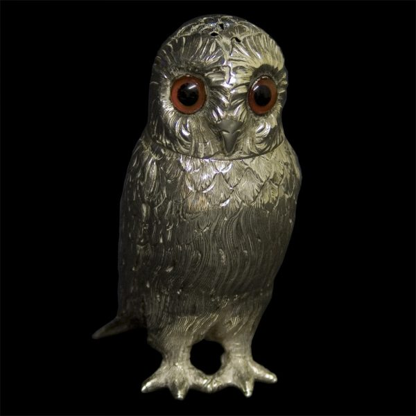 Antique English Silver Owl Pepper