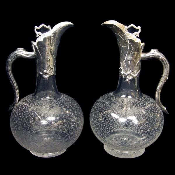 Pair of George Fox Antique English Silver Mounted Claret Jugs