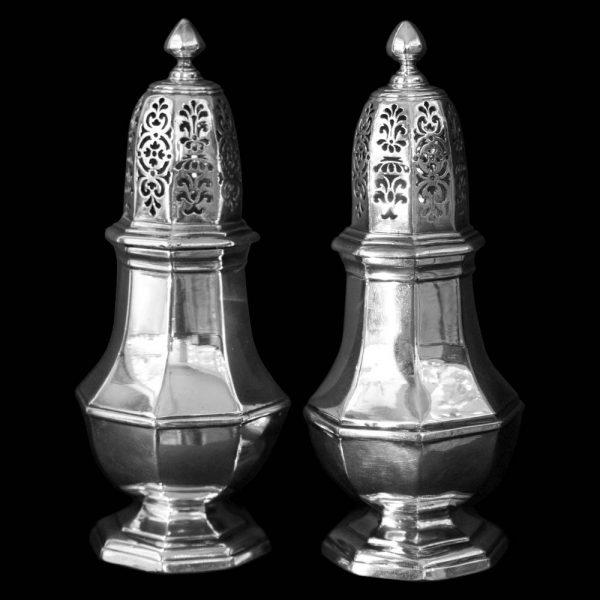 Pair of English Antique Britannia Silver Castors