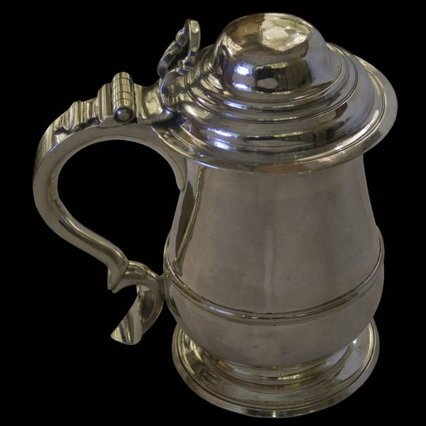 Antique English Silver Lidded Tankard