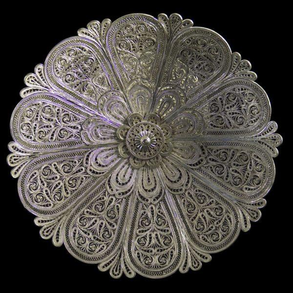 Indian antique silver filigree tazzas