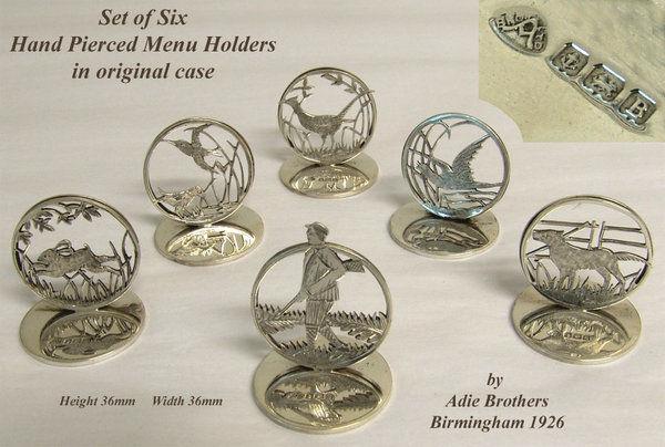 Set of 6 hand pierced silver hunting menu holders in original case