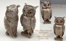 Pair of silver novelty Owl Peppers