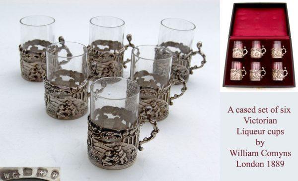 Antique Silver Set of six Victorian Liqueur cups