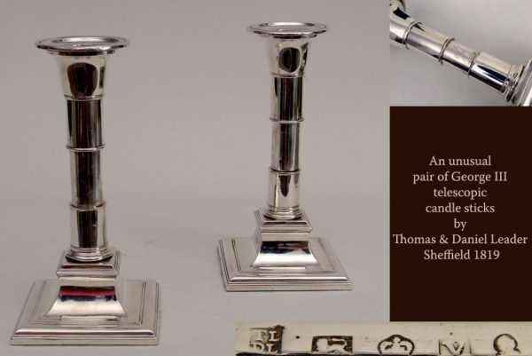 Antique Silver Pair of George III Telescopic Candlesticks