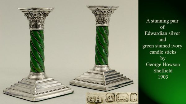 Edwardian silver and green stained ivory candle sticks
