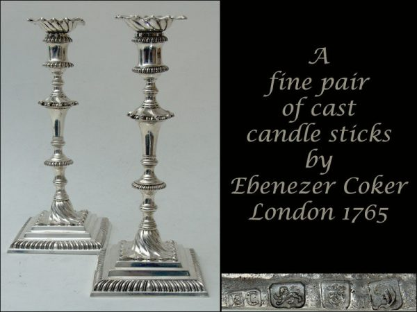A fine Pair of Cast Candle sticks