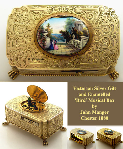 Victorian silver gilt and enamel 'bird' musical box