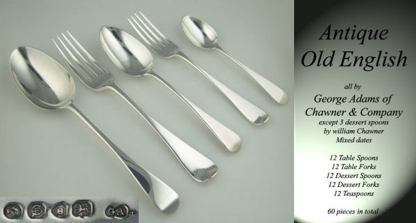 A set of Victorian antique silver Old English flatware by George Adams