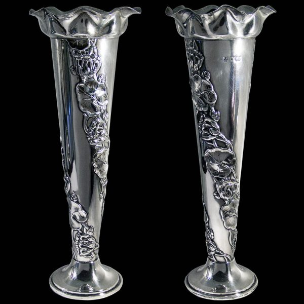 Antique English Silver Vases
