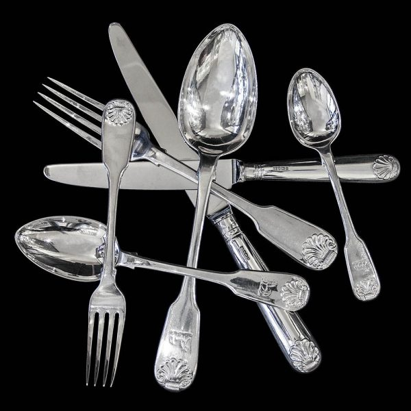 Antique English Silver Fiddle and Shell Flatware