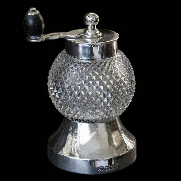 Antique Edwardian English Silver Pepper Grinder