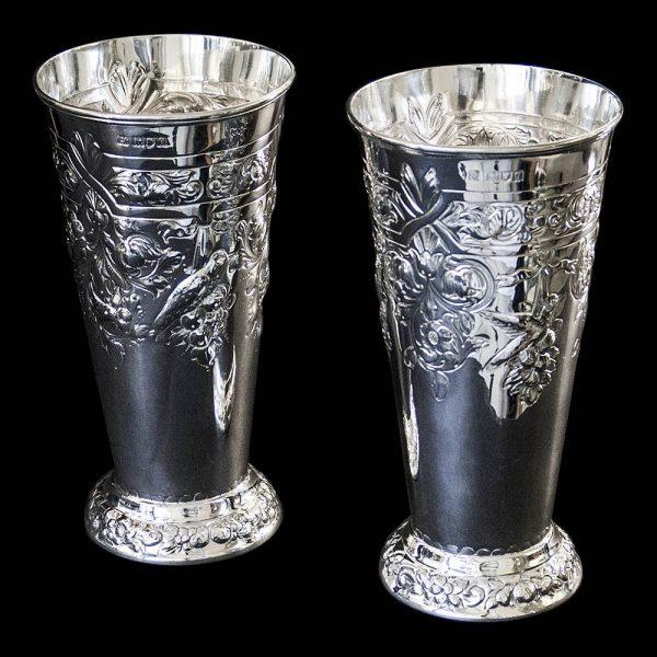 Antique English Sterling Silver George V Flower Vases