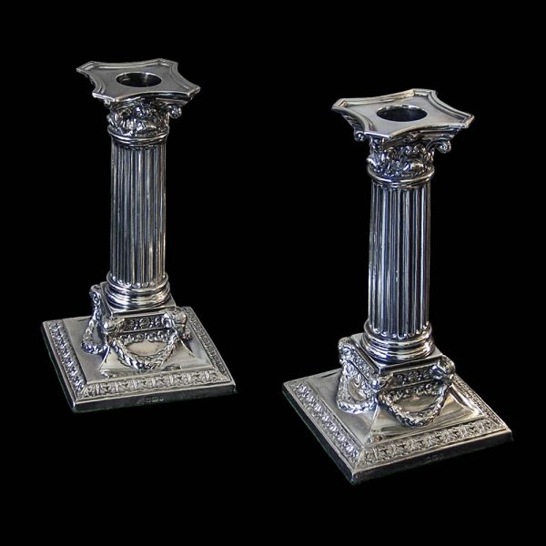 Antique English Sterling Silver Victorian Candlesticks