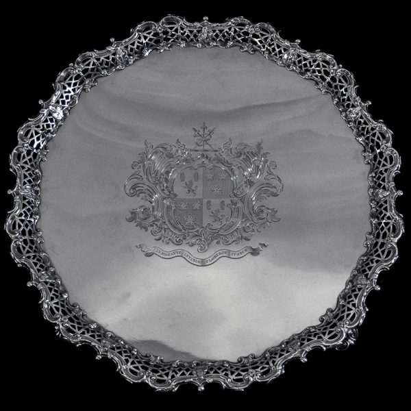 Antique English Sterling Silver Georgian Salver