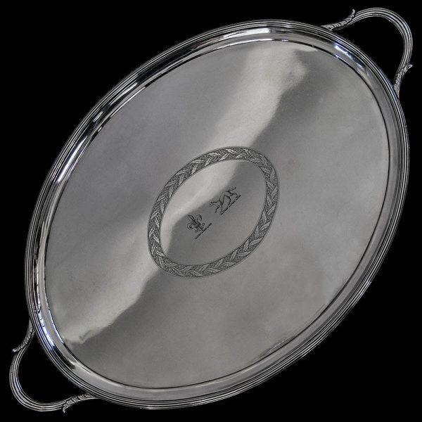 Antique English Georgian Silver Tray