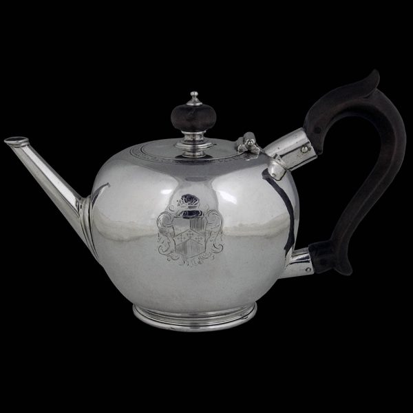 Antique English Geo I Sterling Silver Bullet Teapot
