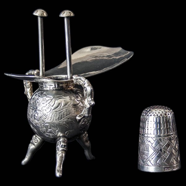 Antique Chinese Export Silver Miniature Incense Burner