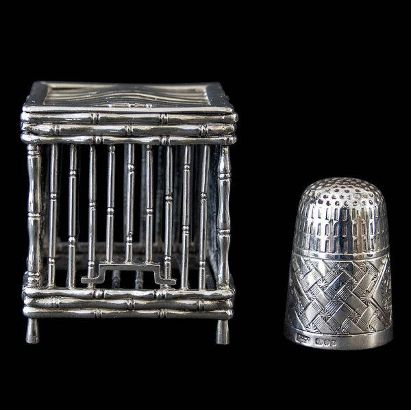 Antique Chinese Export Silver Miniature Bird Cage