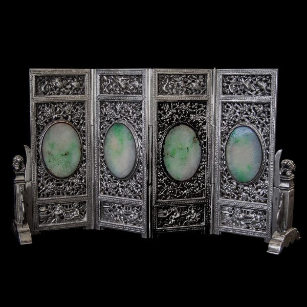 Antique Chinese Export Miniature Silver & Jade Folding Screen