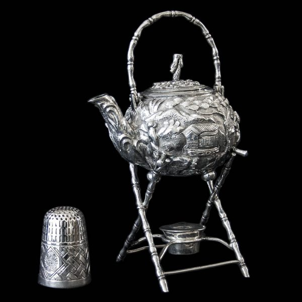 Antique Chinese Export Silver Miniature Kettle on Stand